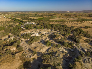 Aerial shot from Archaeological Site of Troy Canakkale Turkey