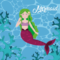 Beautiful mermaid cartoons