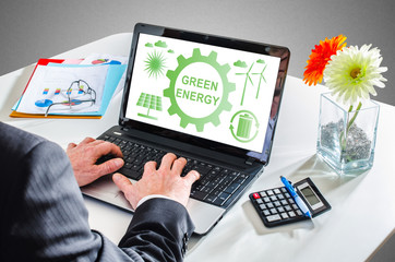 Green energy concept on a laptop screen