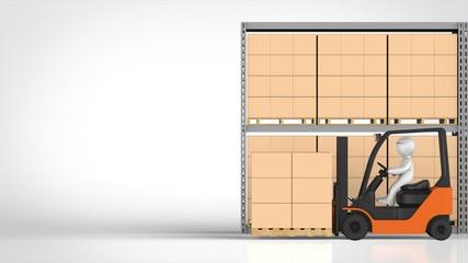 物流倉庫とフォークリフト 左コピースペース