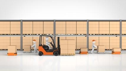 物流倉庫で働く人と物流ロボット 正面