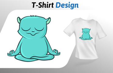 Funny green lemur meditating t-shirt print. Colorful mock up t-shirt design template. Vector template, isolated on white background.