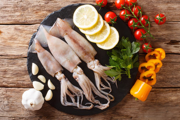 Raw fresh squid close-up and vegetable for cooking on a slate board. horizontal top view from above