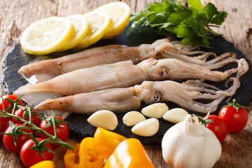 Fresh raw squid with tentacles closeup and vegetable ingredients. horizontal