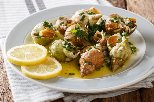 Bulots Cuits - Cooked Waved Whelks with a sauce of butter, garlic and parsley, lemon close-up. Horizontal