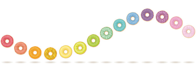 Donut wave. Colorful, tasty horizontal motion. Isolated vector illustration on white background.