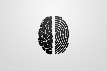 Half of the brain and fingerprint view from above. The concept of identity, unique data.