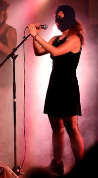 Maria Alyokhina of Pussy Riot performs at the Edinburgh Fringe, in Edinburgh