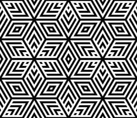 Vector seamless texture. Modern geometric background. Monochrome geometric pattern with hexagons of dots.
