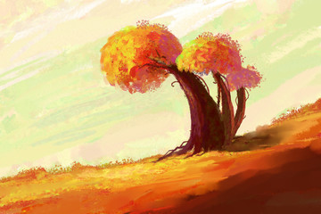 Autumn landscape with a tree. Digital painting