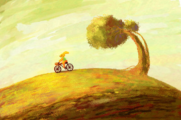 A bunny rides a bike on the background of the autumn landscape. Digital painting
