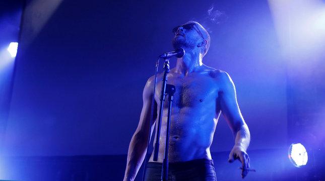 Kiryl Masheka of Pussy Riot performs at the Edinburgh Fringe, in Edinburgh