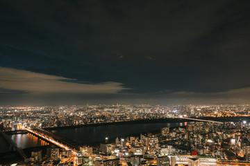 Osaka urban cityscape landscape background at twilight night