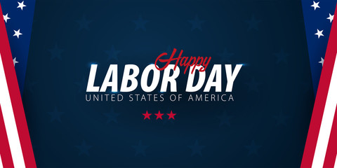 Labor Day sale promotion, advertising, poster, banner, template with American flag. American labor day wallpaper. Voucher discount