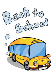 cartoon  cute school bus illustration and back to school text