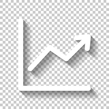 Finance grapgic, grow. White icon with shadow on transparent bac