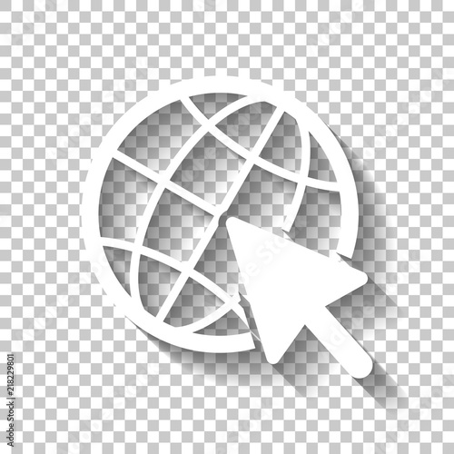 Globe and arrow icon  White icon with shadow on transparent