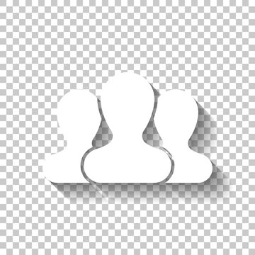 Team, few person. White icon with shadow on transparent backgrou