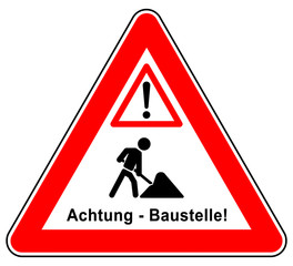 nrts78 NewRedTriangleSign nrts - sd78 Schild-Dreieckig - german text: Achtung - Baustelle! - Baustellenschild - english: warning - traffic sign / Caution / Under Construction - triangle red xxl g6502