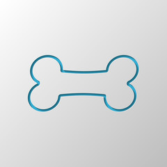 Dog bone icon. Paper design. Cutted symbol with shadow