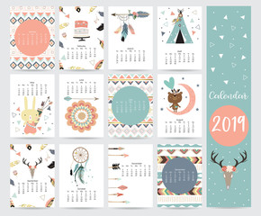 Chic monthly calendar 2019 with tent,whale,feather,arrow,dreamcatcher,bear,rabbit,cake,flower and wild in boho and bohemian style