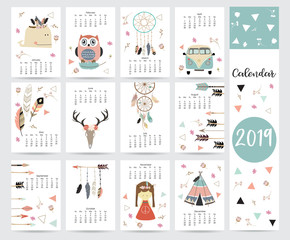 Chic monthly calendar 2019 with tent,whale,feather,arrow,dreamcatcher,girl,van and wild in boho and bohemian style