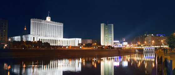 Night view of the Government building of the Russian Federation at the Moscow river