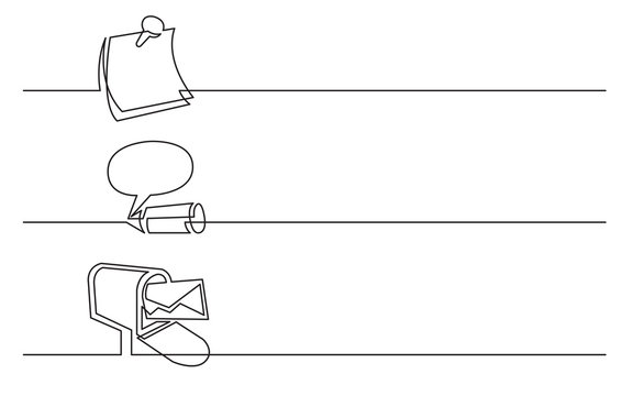 banner design - continuous line drawing of business icons: note, opinion, mail box letter