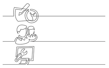 banner design - continuous line drawing of business icons: calendar with clock, persons icon, computer control panel