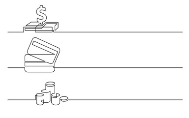 banner design - continuous line drawing of business icons: dollar sign, credit cards, money coins