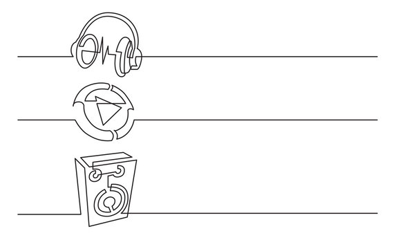 banner design - continuous line drawing of business icons: headphones, video file, audio speaker