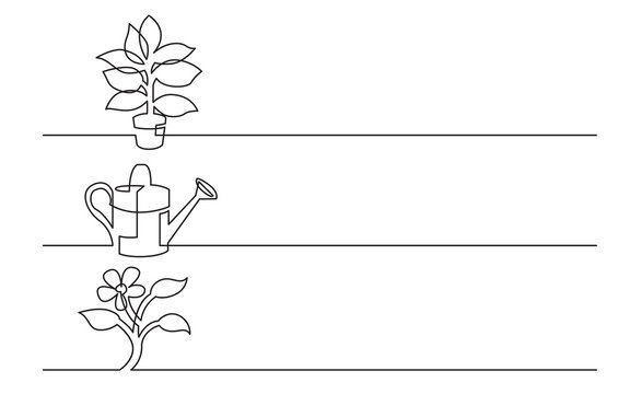 banner design - continuous line drawing of business icons: home plant, watering can, flower