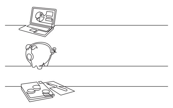 banner design - continuous line drawing of business icons: laptop computer with pie chart, piggy bank, money papers