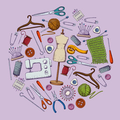 Set of tools for needlework and sewing. Handmade equipment and needlework accessoriesy, sketch illustration. Vector