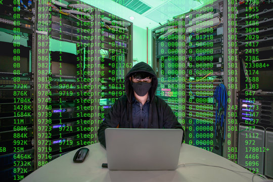Hacker is using computers. To steal information of the data center