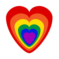 Gay pride community colours as heart symbol