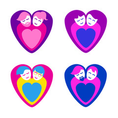 Loving couples as heart symbols, heterosexual and LGBT