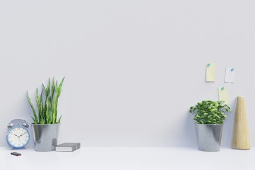 Modern workplace with creative desk with plants have white wall,3d rendering