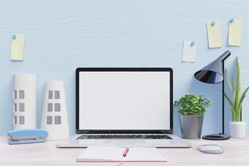 Mockup laptop on desk , back blue wall background,3d rendering