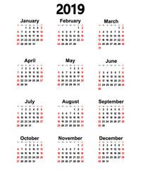 Great new wall calendar 2019. Vector illustration