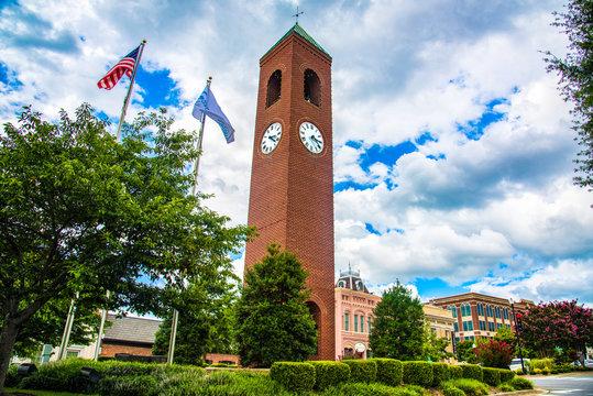 Clock Tower in Downtown Spartanburg, South Carolina, USA