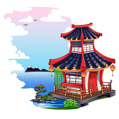 Colorful Japanese house isolated on white background. Vector illustration.