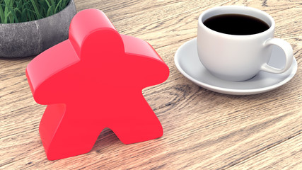 A large meeple next to a cup of coffee. 3d render
