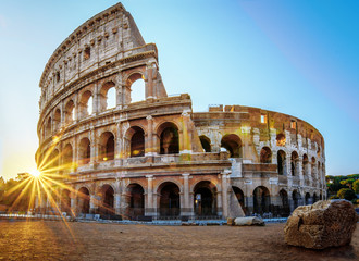 Colosseum in Rome at the Sunrise Time -  Colosseum is one of the main travel attractions - The Main symbol of Rome