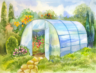Watercolor picture with greenhouse in the garden