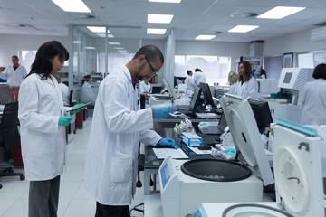 Team of laboratory technicians working in blood bank