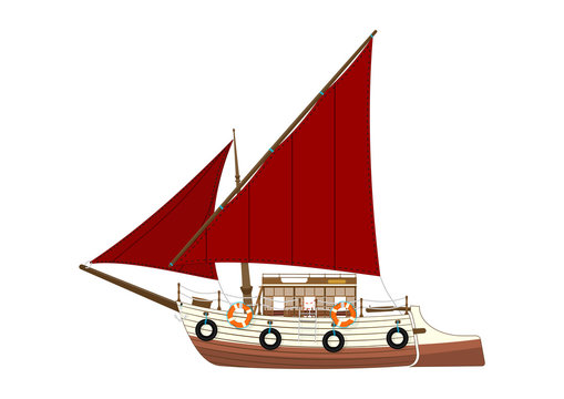 Cartoon felucca. Side view of a retro Egyptian sailing boat. Flat vector.