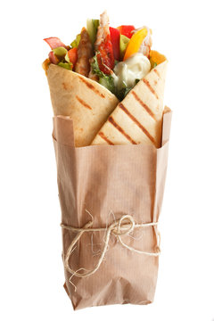 The Doner kebab (shawarma) isolated on a white background.