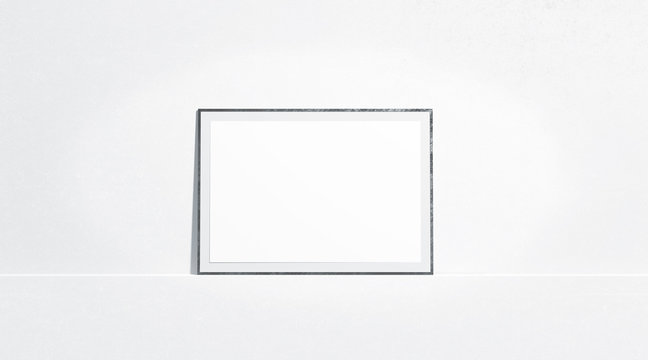 Blank white horizontal paper poster mock up stand at gallery wall, front view, isolated, 3d rendering. Empty placard with frame in museum mockup. Clear photo art cadre template