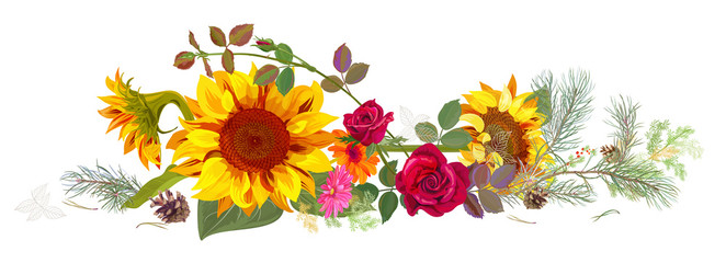Horizontal autumn's border: sunflowers, pink, red roses, daisy flowers, pine branches, cones on white background. Digital draw, illustration in watercolor style, panoramic view, vector